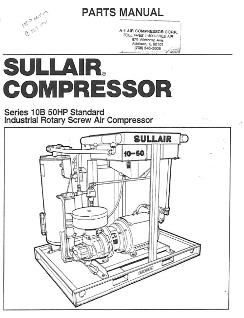 sullair series 10b 50hp screw compressor parts book download manu rh tradebit com Sullair Tech Information Sullair 185 Parts