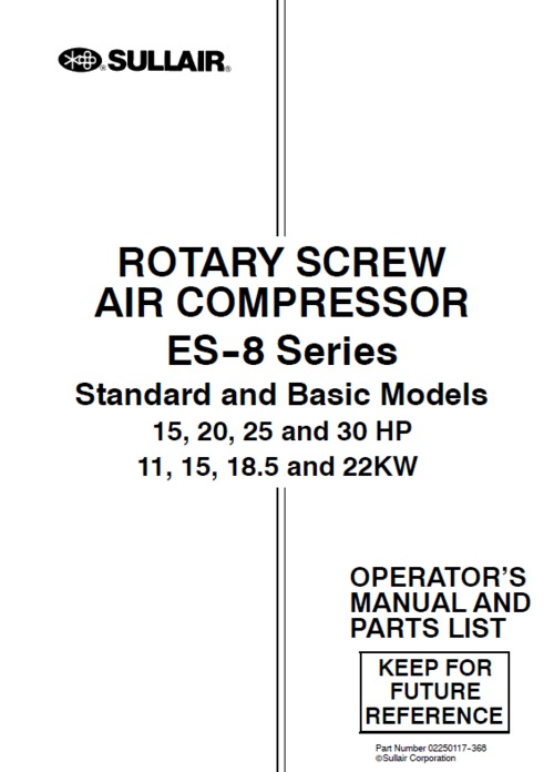 pay for sullair es-8 series compressor operator & parts book