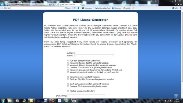 Pay for Online Lizenz-Generator e-Lizenz