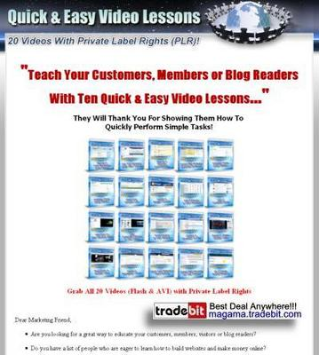 Pay for 20 Quick and Easy Video Lessons PLR!