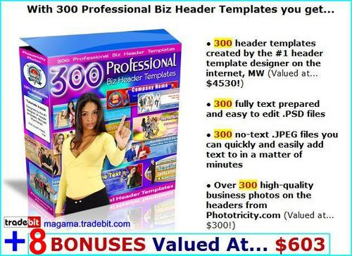 Pay for 300 Professional Biz Header Templates package!