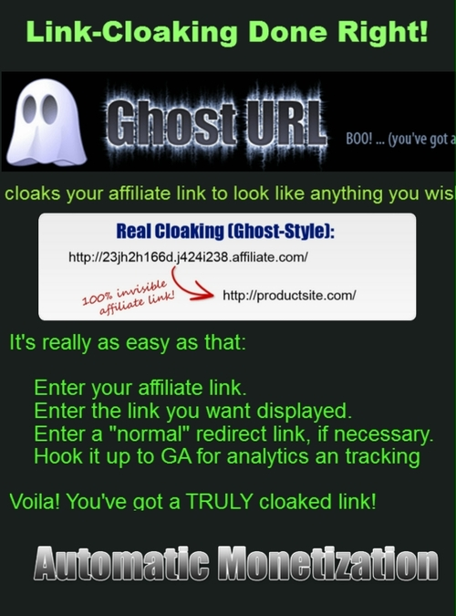 Pay for GhostURL - Affiliate Link Cloaker - Ghost URL-WP PLUGIN