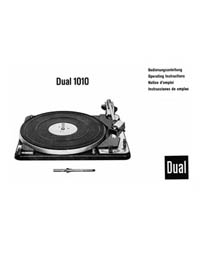 Thumbnail DUAL 1010 TURNTABLE OWNERS MANUAL