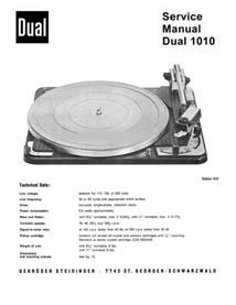 Thumbnail DUAL 1010 TURNTABLE SERVICE MANUAL / REPAIR MANUAL