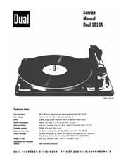Thumbnail DUAL 1010A TURNTABLE SERVICE MANUAL / REPAIR MANUAL