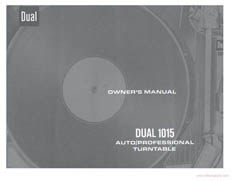 Thumbnail DUAL 1015 TURNTABLE OWNERS MANUAL