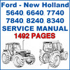 Thumbnail Ford New Holland 5640 6640 7740 7840 8240 8340 Service Workshop Manual - 1492 PAGES - DOWNLOAD