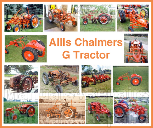 Allis Chalmers G Tractor Shop SERVICE Repair & OPERATOR Owner Manual &  IMPLEMENTS Parts -4- MANUALS - DOWNLOAD