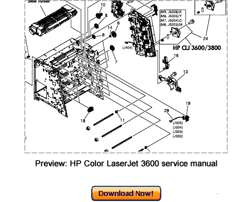 hp color laserjet 3000 3600 3800 service repair manual