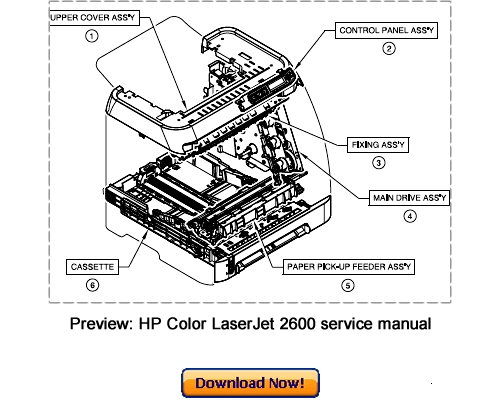 hp color laserjet 2600n service repair manual download