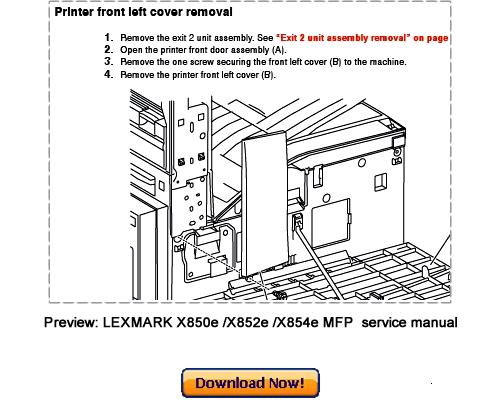 lexmark x850e x852e x854e mfp service repair manual download