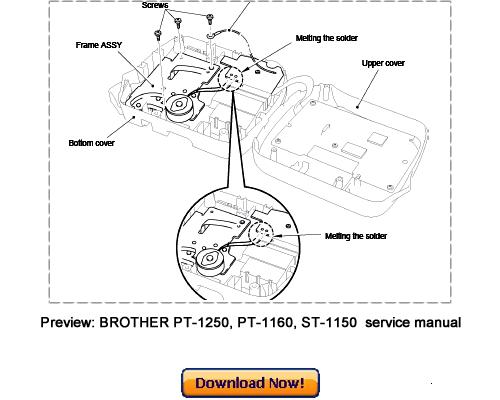 Free BROTHER PT-1250, PT-1160, ST-1150 Labeler Service Repair Manual Download Download thumbnail