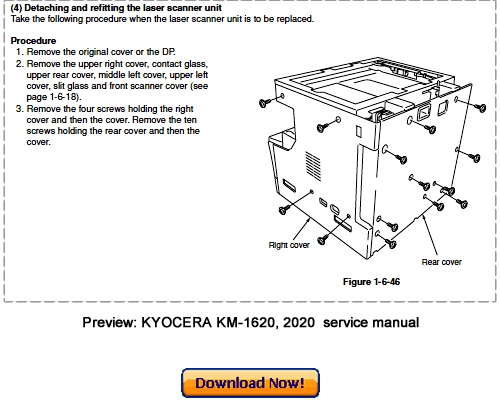Pay for KYOCERA MITA KM-1620, KM-2020 Service Repair Manual Download