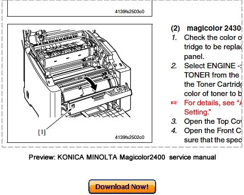 konica minolta magicolor 2400w 2430dl 2450 service repair manual rh tradebit com Konica Minolta Magicolor 1600W Toner Konica Minolta Printers