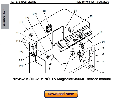 konica minolta magicolor 2490mf service repair manual