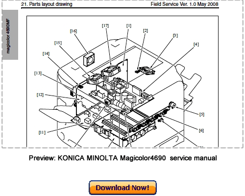 Free KONICA MINOLTA Magicolor 4690MF Service Repair Manual Download Download thumbnail