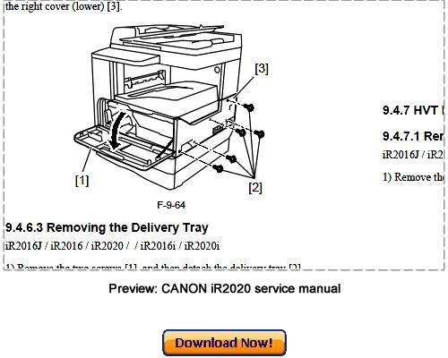 Pay for Canon iR2020 iR2020i iR2020J Service Repair Manual Download