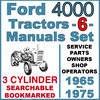 Thumbnail Ford 4000 3 Cylinder Tractor SERVICE, PARTS Catalog, OWNERS -6- Manuals 1965-75 - DOWNLOAD