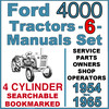 Thumbnail Ford 4000 Series 4 Cylinder Tractor SERVICE PARTS OWNERS -6- Manuals 1954-65 - DOWNLOAD