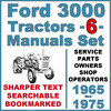 Thumbnail Ford 3000 3 Cylinder Tractor SERVICE, PARTS Catalog, OWNERS -6- Manuals 1965-75 - DOWNLOAD