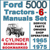 Thumbnail Ford 5000 4 Cylinder Tractor SERVICE, PARTS, OWNERS -6- Manuals 1965-75 - DOWNLOAD