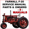 Thumbnail IH Farmall F-20 Tractor SERVICE, PARTS, OWNERS -3- MANUALS - DOWNLOAD