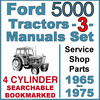 Thumbnail Ford 5000 4 Cylinder Tractor SERVICE & SHOP & PARTS -3- Manuals 1965-75 - DOWNLOAD