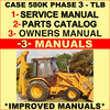 Thumbnail Collection of 3 files - Case 580K Phase 3 III Repair Service Manual & Illustrated Parts Catalog & Operator Manuals - DOWNLOAD