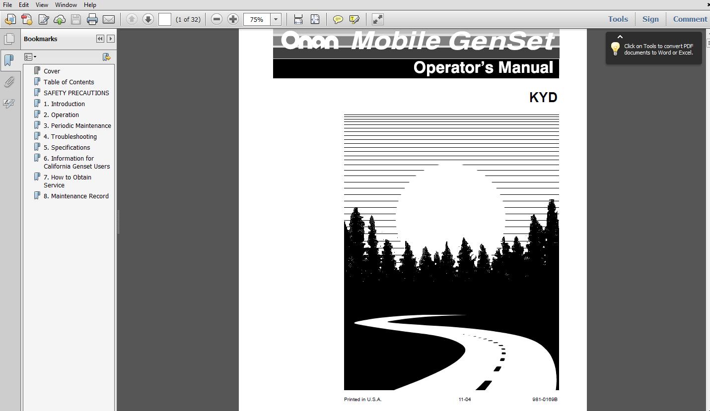 Thumbnail Onan KYD GENERATOR OPERATORS MANUAL 981-0169B
