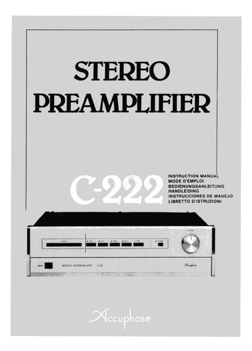 Pay for Accuphase C-222 Stereo Preamplifier Owner Manual