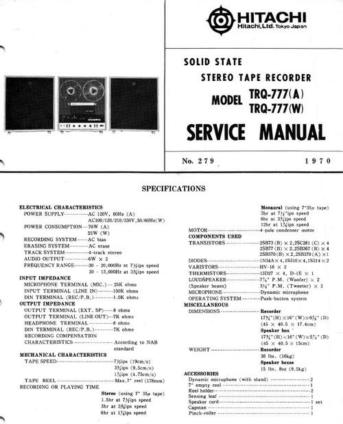 Free Hitachi TRQ-777 Service Manual Download thumbnail