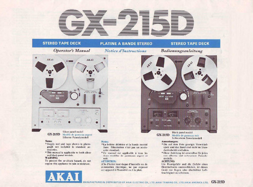 Pay for Akai GX-215D Owner & Service Manual + Schematics