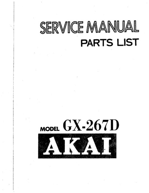 Pay for akai gx-267d service Owner Manual !!!