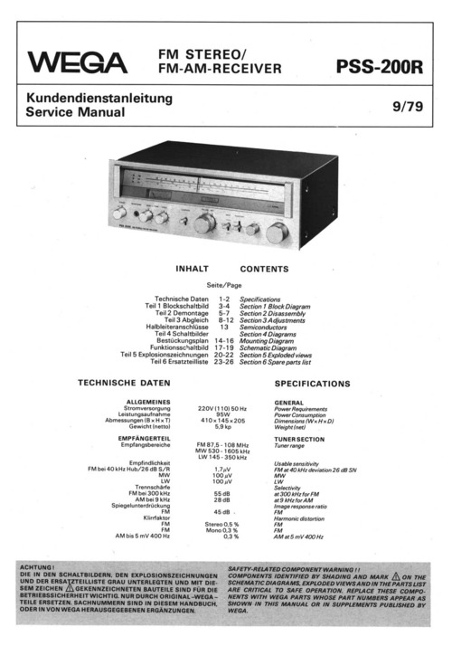 Pay for wega pss-200r service Owner Manual !!!