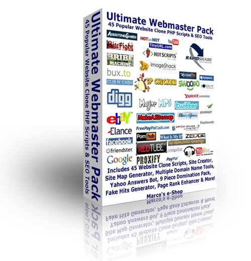 Ultimate Webmaster Pack - 45 PHP Clone Scripts + SEO Tools
