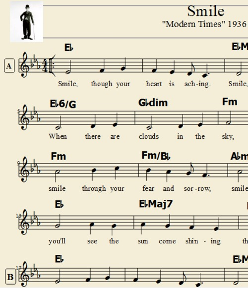 Pay for Smile - Charlie Chaplin Tranposable Lead Sheet Music