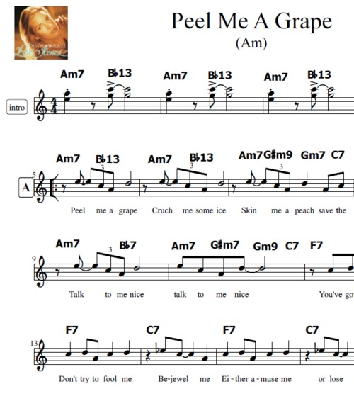 Pay for Peel Me A Grape Transposable Lead Sheet