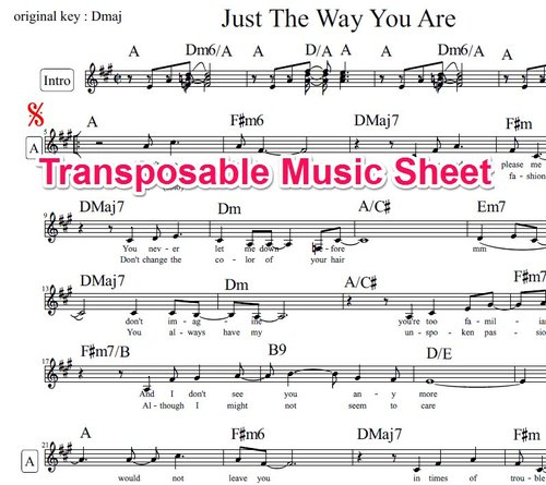 Just The Way You Are Lead Sheet Billy Joel Transposable Downl