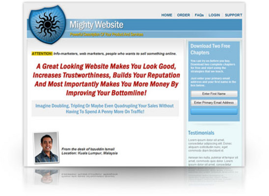 Pay for Mighty Minisite template-MRR