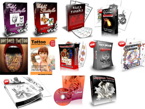 Pay for Tattoos Design Mega Pack 12 Tattoo eBooks MRR