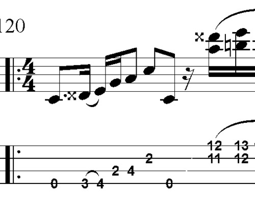L33 E7 blues bass lick with doublestops