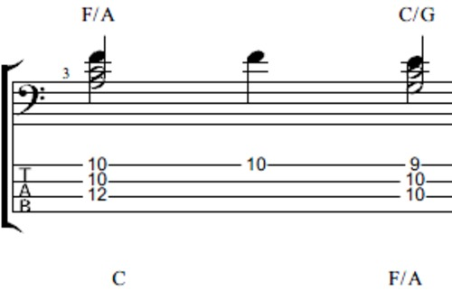 Pay for Bass chord arrangement using major triads