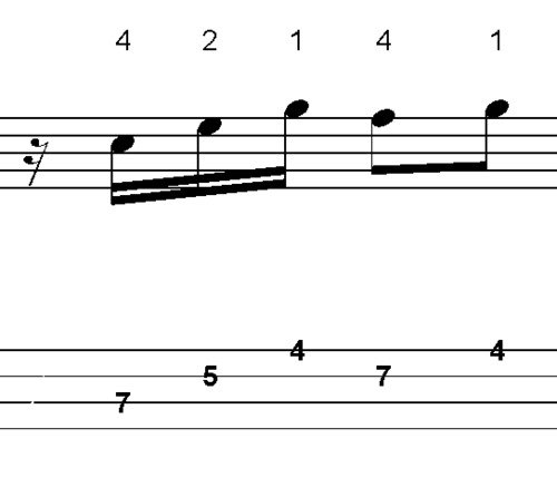 Pay for L257 Em7 dorian scale bass lick from the minor 3rd