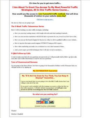 Pay for 9 Week Traffic Teleseminar Series (PLR)