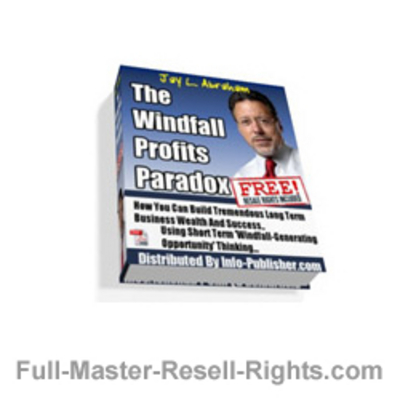 Pay for Ebook - The Windfalls Profits Paradox Report With Full Master Resale Rights