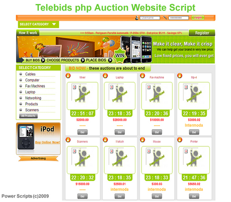 Pay for Telebids Auction Website Script With Resell Rights
