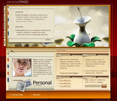 Female personal profile webpage flash audio website for Html templates for personal profile