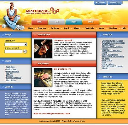 Pay for Mp3 Portal Flash Website Template