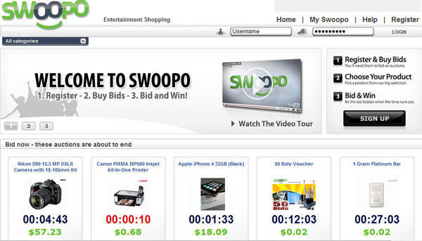Pay for *NEW!* New Swoopo.com Clone Php Website Script