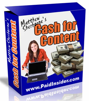 Pay for *NEW!* Make Money From Home With The Cash For Content System - Master Resell Rights